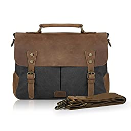 Smriti Vintage Real Leather Canvas Messenger Bag 14-inch Laptop Briefcase - Black