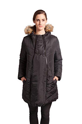 Modern Eternity Womens Fur Trimmed Hood Jacket Maternity Medium Black