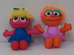 Sesame Street Zoe and Prairie Dawn Collectible Plush Dolls
