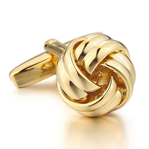 Men'S Rhodium Plated Cufflinks Gold Love Knot Shirt Wedding Elegant (With Gift Bag)