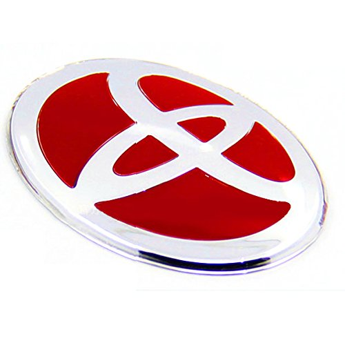 B011 TOYOTA Steering Wheel Emblem Sticker 47X67mm RED Chrome Glossry Shinny With Adhesive Tape Camry Corolla Highlander Reiz Vios (47 Emblem compare prices)