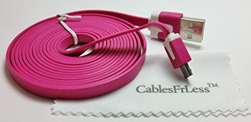 Cablesfrless 6Ft Tangle Free Noodle Style Micro Usb Charging / Data Sync Cable Fits Most Android Devices (Hot Pink)