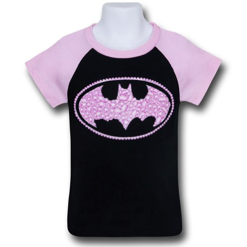 Batgirl Kids Sugar Glitter Symbol T-Shirt- Girls 5/6