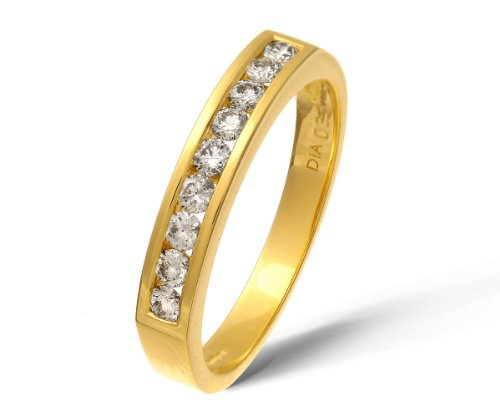 18ct Yellow Gold Certified 0.33ct IJ/I Diamond Channel Set Half Eternity Ring