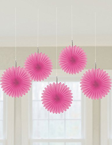 Pink Mini Hanging Fan Decorations