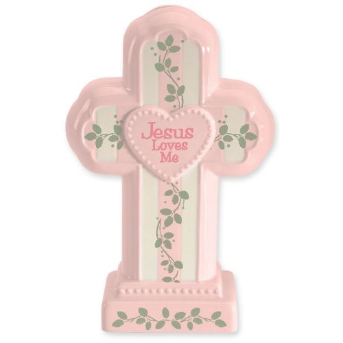 Gregg Gift Bank Cross Jesus Loves Me Pink Bank 147660