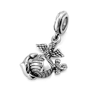 925 sterling silver usmc marine corps dangle. Black Bedroom Furniture Sets. Home Design Ideas