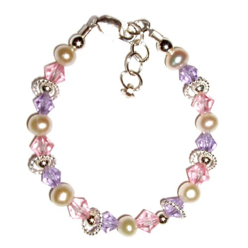 Natalee Sterling Silver Childrens Girls Bracelet Jewelry elegant freshwater pearls and lavender and pink crystals accented with shimmering twisted rings Size Medium 1-5 years