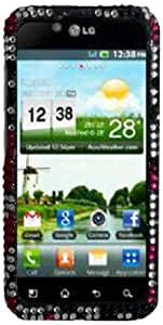 Qtech QT-1380 Unique Dazzling Diamond Bling Case for LG Optimus Black/Marquee/Ignite - 1 Pack - Retail Packaging - Nightly Hearts
