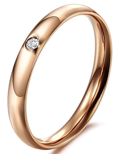 Luna Stainless Steel Womens 3Mm High Polished Cz Comfort Fit Wedding Purity Ring Rose Gold 6