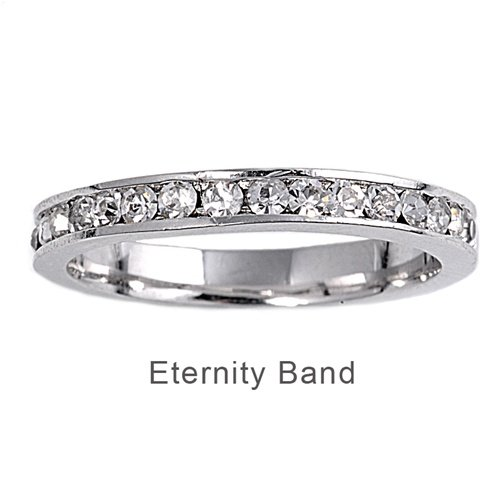 Sterling Silver Eternity Ring with Clear Cubic Zirconia - Band Width: 3mm, Sizes: 3-10, 7