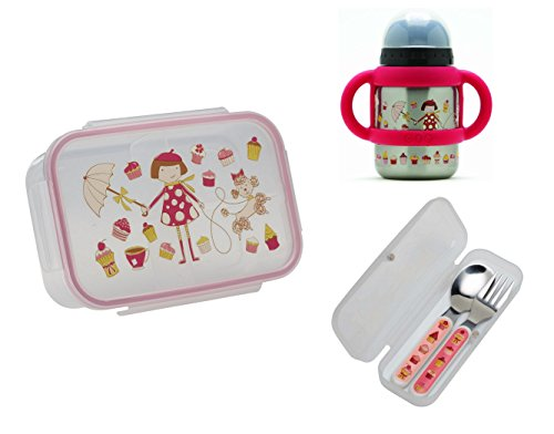 Sugarbooger Divided Good Lunch Box, Silverware, and Flip N Sip Cup Set, Cupcake