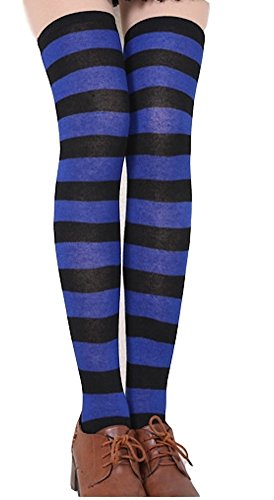 Onomii Red and White Wide Striped Tights Pantyhose Woman Socks (blue and black) (Kids Black And White Striped Tights)