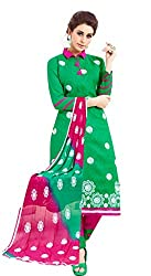 Craftliva Green And Pink Embroidery Cotton Dresss Material