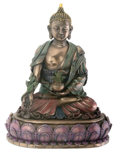 Medicine Buddha - Healer Statue Tibetan Buddhism Antique Bronze Finish with Hand-painted Color Accents Standard