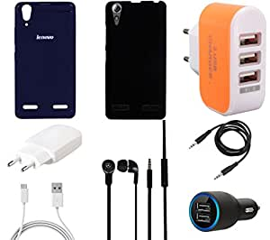 NIROSHA Cover Charger Car Charger Headphone / Hands Free for Lenovo A6000 - Combo