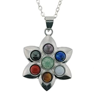 Natural Semi-Precious Stone Inlayed Chakra Lotus Pendant Necklace - 31mm Pendants - 18'' Necklace Included