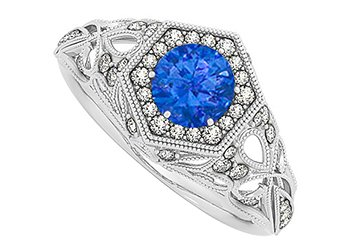 Sapphire and Cubic Zirconia Hexagon Shape Filigree Design Cocktail Ring in 14K White Gold