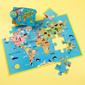 Cheap Land of Nod Kids Puzzles: Kids World Floor Puzzle Map, World Floor Puzzleassembled: 36 x 24″ (B003VAPTN4)