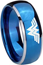 Tungsten Wonder Woman Shiny Blue Glossy Middle Dome 2 Tone Ring  5 8 MM  Size 4-14
