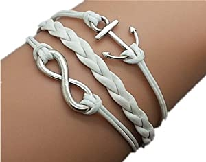 Plating Retro Silver Small Anchor & Infinity Wish Bracelet White Ropes Braided Personalized Charm Jewelry Friendship Gift 1186r