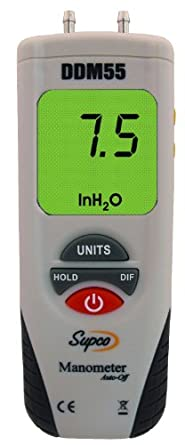 "Supco DDM55 Dual Input Digital Differential Manometer with LCD Display, -55 to 55"" H20 Measuring Range, 0.01"" Resolution, Battery Operated"