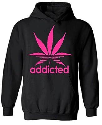 icustomworld Addicted Hoodie Pink Marijuana Leaf Kush Dope Hooded Sweatshirt