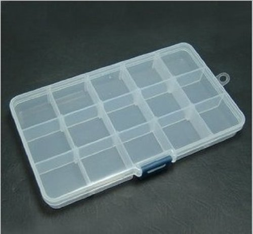 Beads Display Storage Transparant Plastic Jewelry Case Box 15 Compartments