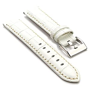 StrapsCo Premium White Croc Embossed Leather Watch Strap size 22mm