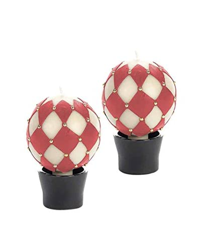 Et Al Designs Set of 2 Red Harlequin & Golden Stud Sphere Candles