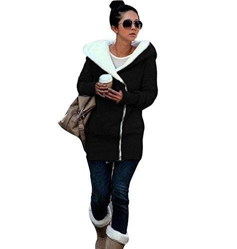 Minetom Sweatshirt Maniche Lunghe Con Cappuccio Felpa - Donna Cerniera Hoody ( Nero IT 40 )