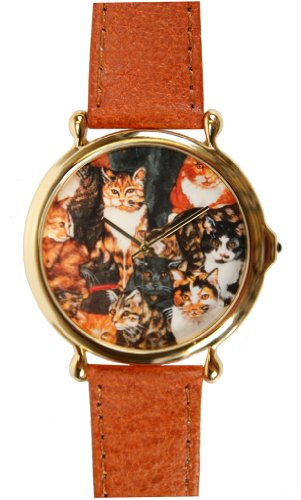 Animal Series Cat Dial Design Gold-Tone Large Round Leather Strap Watch # 6032G