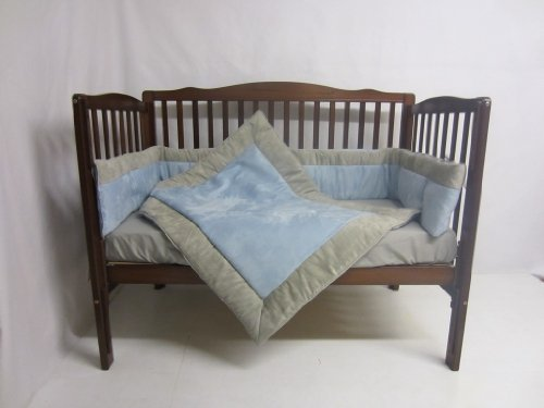 Baby Doll Zuma 3 Piece Crib Bedding Set, Grey/Blue