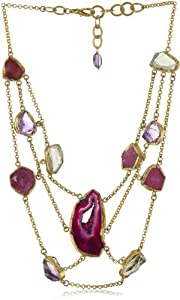 "Zariin ""Cleopatra Statement"" Pink Agate and Ruby Bib Necklace"