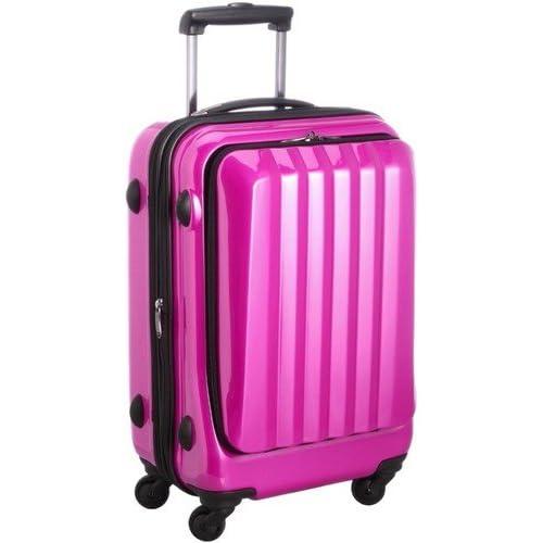 容量アップ拡張ジッパー付フロントオープンスーツケース ピンク