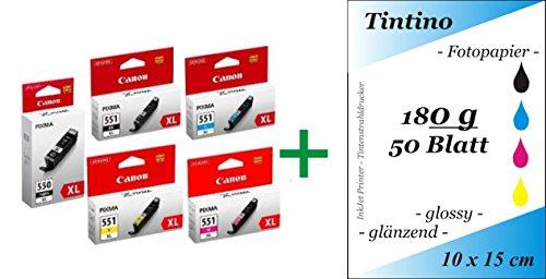 1 Set Original PGI 550 Cli 551 pbk c m y XL - bk Text schwarz - Canon Pixma iP zB MG 7150 MX + Chip + pripa 50 Blatt Tintino Fotokarten 10 x 15 - 180g