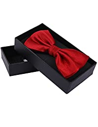 Mens\' Tuxedo Solid Patterned Adjustable Neck Bowtie Bow Tie (Red)
