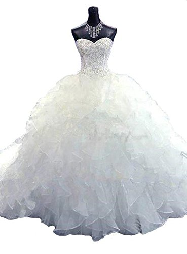 Lovelybride Noble Sweetheart Beaded Organza Wedding Dresses Bridal Gowns (12, White)