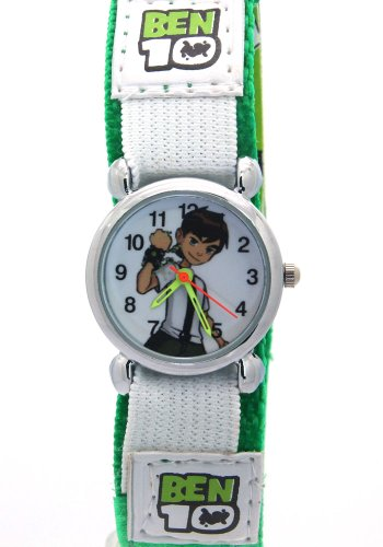 Ben 10 Cartoon Kids Green Strap Velcro Waterproof Stainless Steel