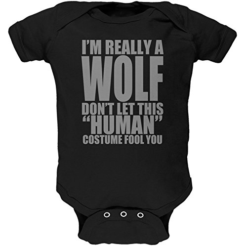 Halloween Human Wolf Costume Black Soft Baby One Piece
