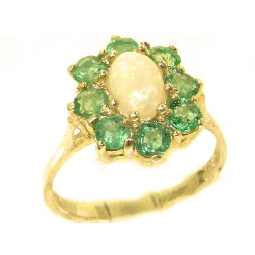 Luxury Ladies Solid 14K Yellow Gold Natural Opal & Emerald Cluster Ring - Size 9.25 - Finger Sizes 5 to 12 Available - Perfect Gift for Birthday, Christmas, Valentines Day, Mothers Day, Mom, Mother, Grandmother, Daughter, Graduation, Bridesmaid.