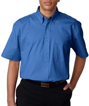 8977 UltraClub Short Sleeve Whisper Twill,Small,French Blue