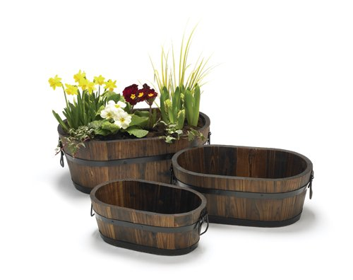 OVAL BURNTWOOD GARDEN PLANTER &#8211; 31CM