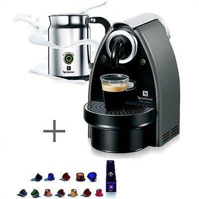 Essenza Espresso Machine in Titan Gray/Aeroccino Plus In-Pack