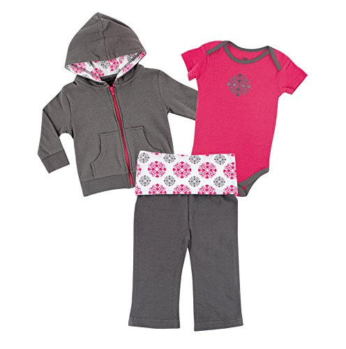 Yoga Sprout Baby Bodysuit, Pant, and Hoodie Set, Pink Medallion, 12-18 Months (Baby Clothes 12 To 18 Months compare prices)