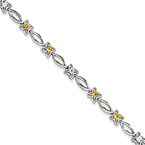 Sterling Silver Citrine & Diamond Bracelet, 7.5 inches, Quality Bracelets For Women, Fine Jewelry