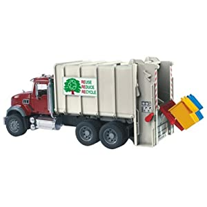 Amazon.com: Bruder Mack Granite Back Loading Garbage Truck: Toys