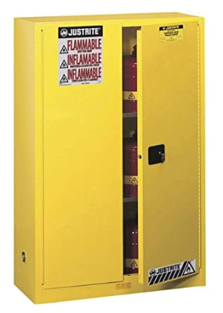 Justrite Sure-Grip EX Safety Cabinet for Flammable Liquids, 2 Manual Doors, Steel, Yellow