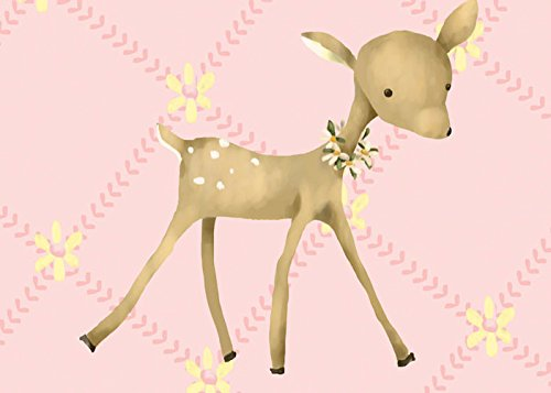 Oopsy daisy Fancy Fawn Pink Stretched Canvas Wall Art by Meghann O'Hara, 14 by 10-Inch