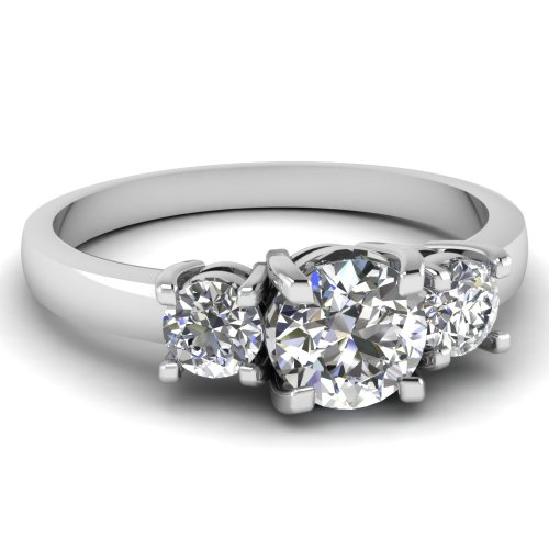 Fascinating Diamonds 0.80 Ct Round Cut:Ideal Diamond Circular Trio Engagement Ring Si1-G Color 14K Gia